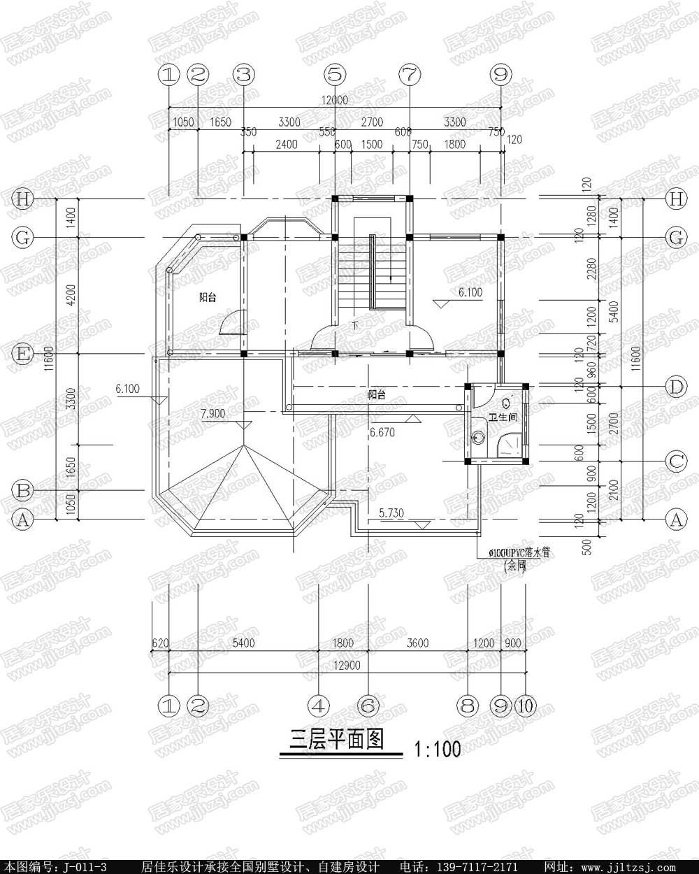 农村房屋自建房三层别墅设计施工图,13.1x13.8米,28-36万建成