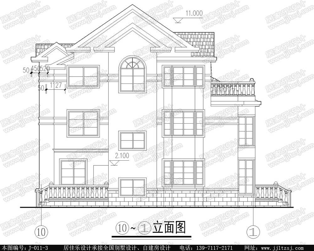农村房屋自建房三层别墅设计施工图(水电赠送)-居