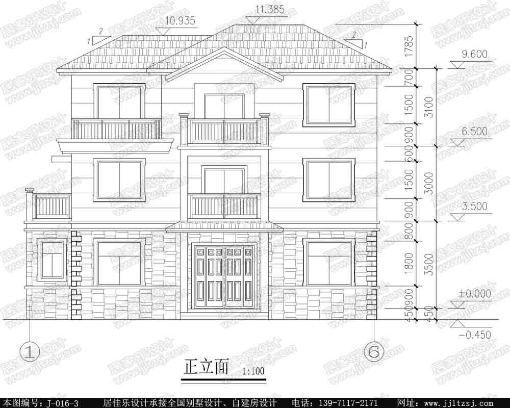 新农村三层自建房别墅设计施工图(带露台坡屋顶),14x8.3米