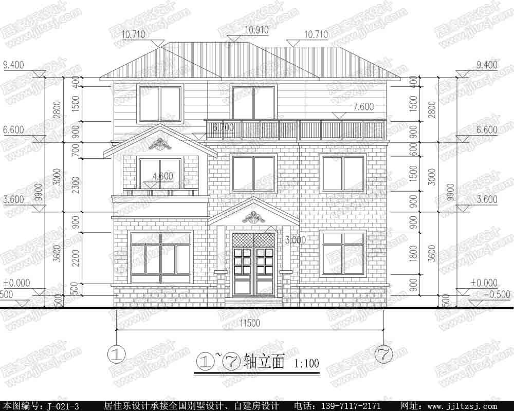 单家独院式新农村三层自建房别墅设计施工图,11.7x10.3米,17.2-23万