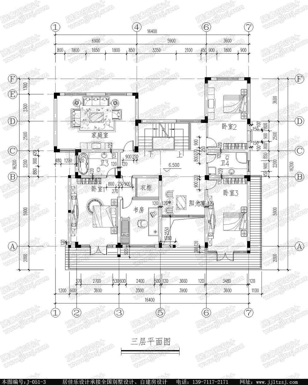 新农村三层自建房别墅设计施工图(现代风格),14.8x15.9米,38-50万