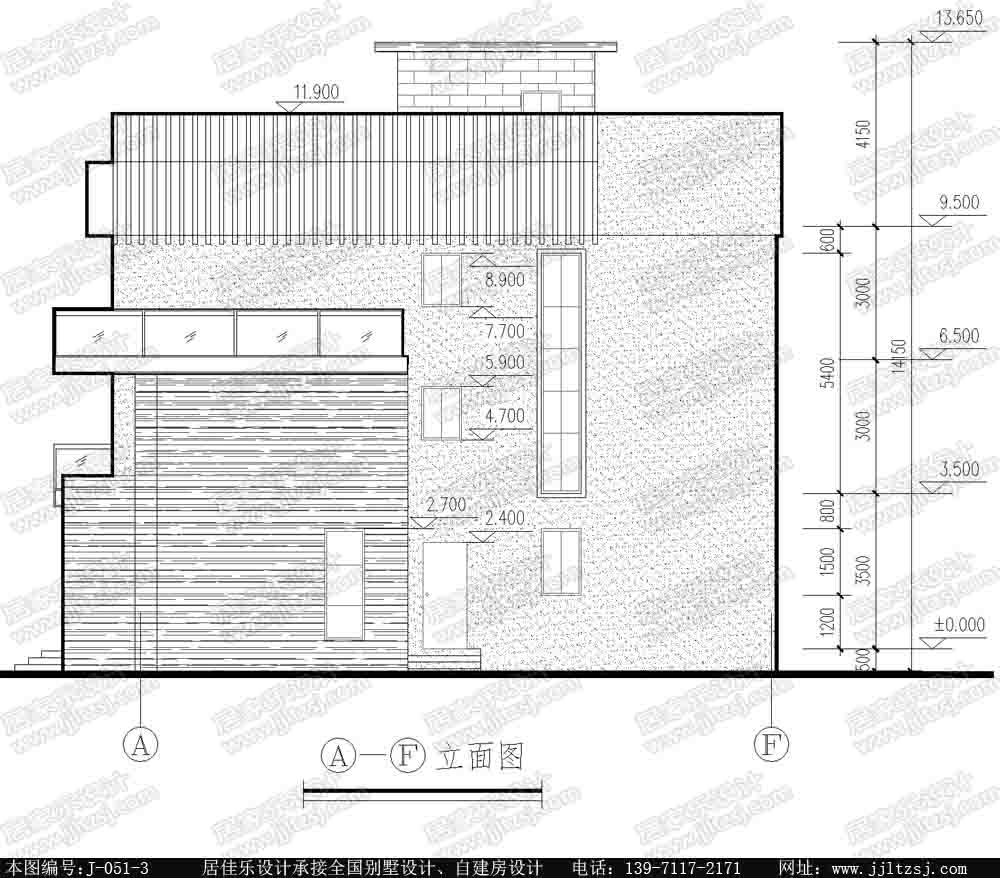 新农村三层自建房别墅设计施工图(现代风格),16.4x15.7米,38-50万