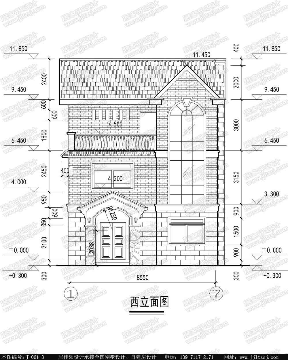 新农村自建房三层别墅设计施工图(现代风格),8.55x12.7米,22-26万