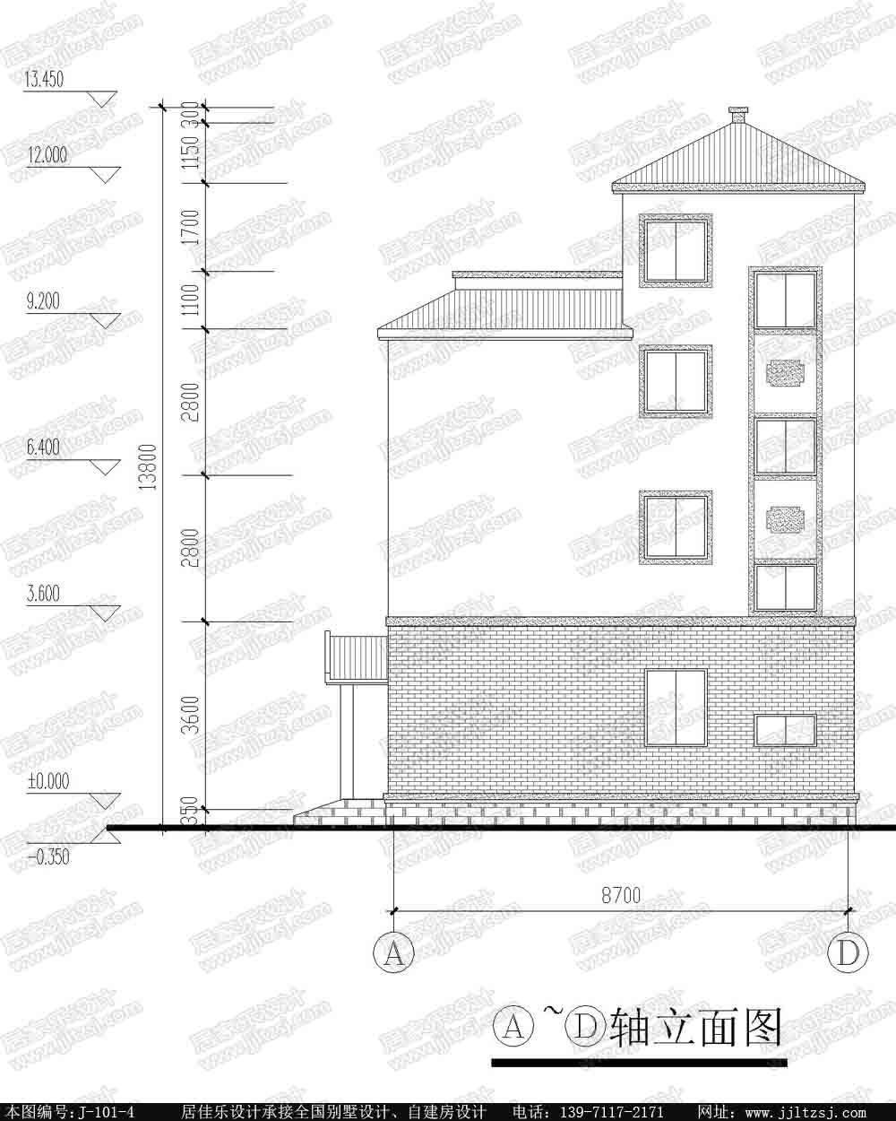 新农村自建房四层房屋设计图纸(带露台阳台)-居佳乐