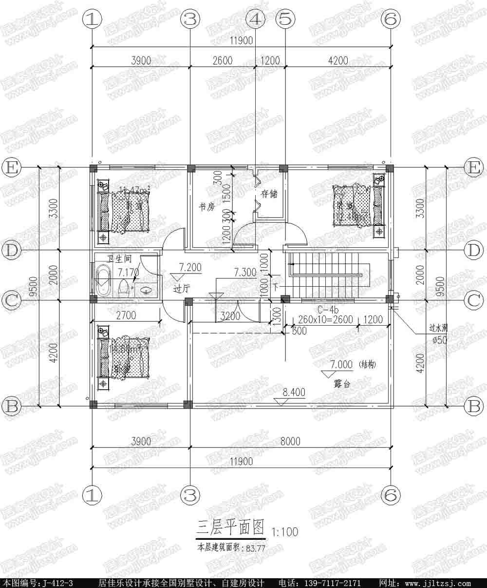 120平方米新農村帶露臺陽臺漂亮3層別墅設計圖紙