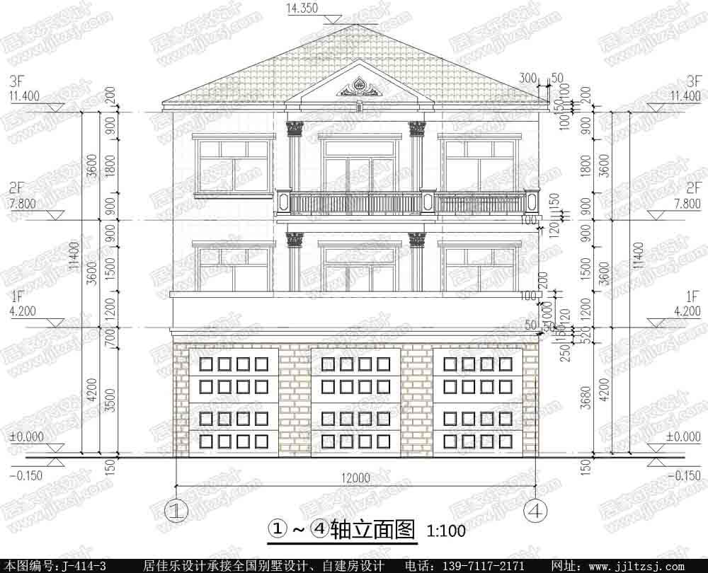 222平方米臨街三層樓房設計圖-三層臨街房屋設計圖-12米x20.