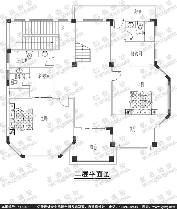 四层豪华现代风格小别墅设计图-农村小洋房设计图-农村建房设计图-亿
