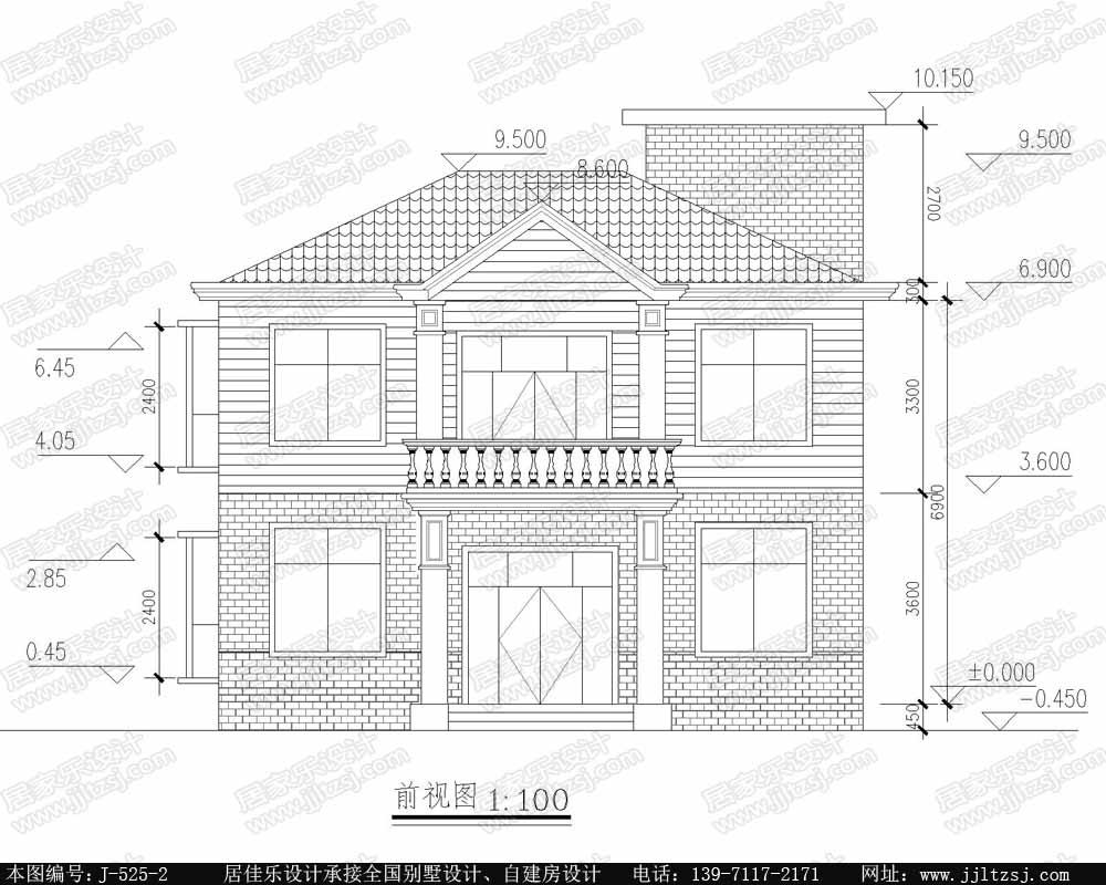 170平米二层小别墅设计图-实用小别墅设计图,10.76x7.96米,10-14万