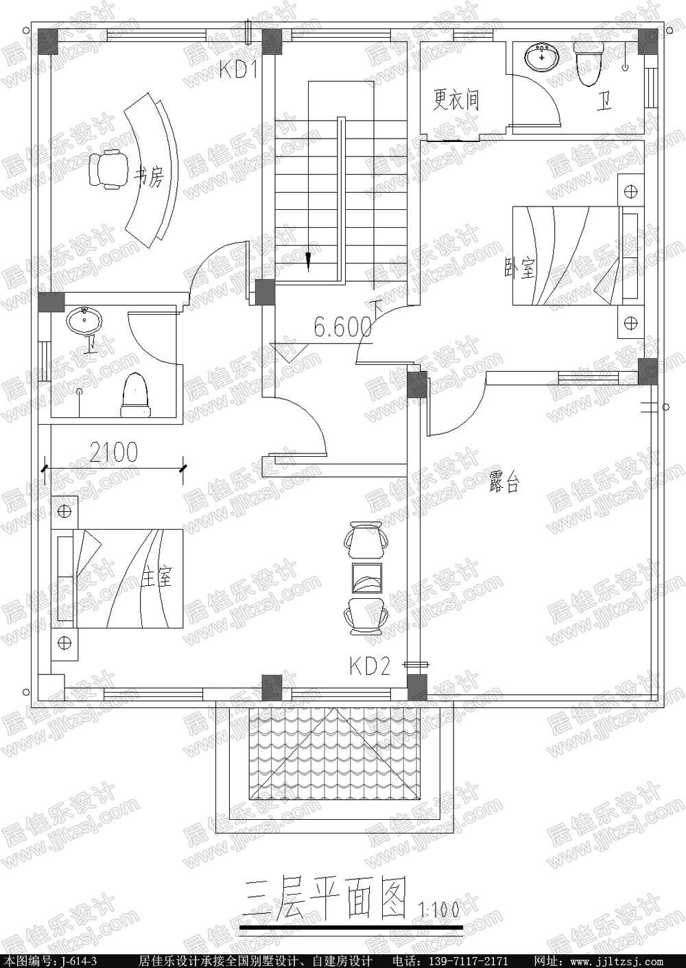 100平米新农村自建三层房屋设计图,9.4x11.7米,15.6-20万