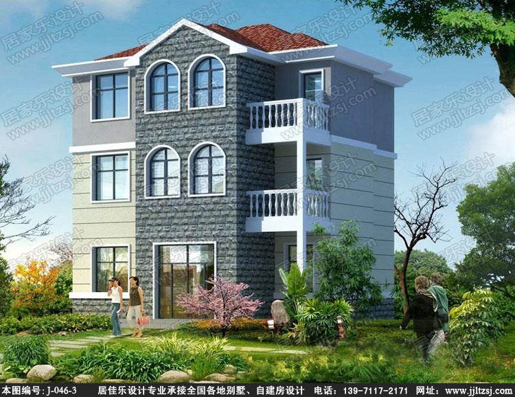田园风格新农村三层自建房别墅设计施工图