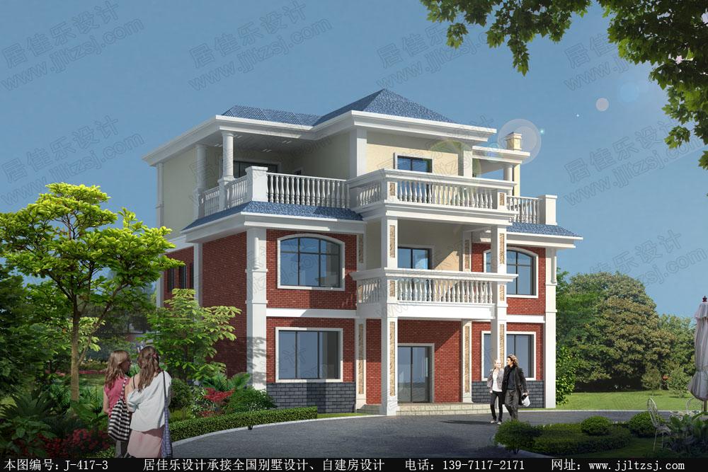 122平米岭南三层别墅设计图,12x10米,19-26万造价