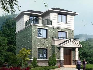 新农村带露台三层自建房别墅设计施工图(坡屋顶),8.1X10.5米-农