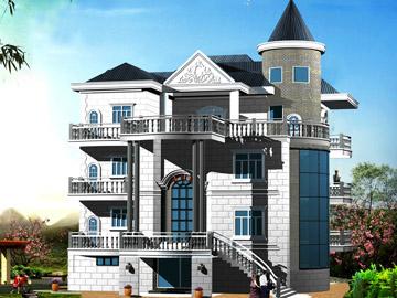 带阁楼新农村三层自建房别墅设计施工图(带车库)