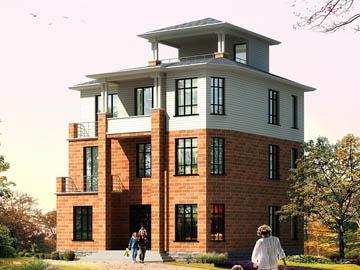 新农村三层自建房别墅设计施工图(带凉亭),12x11.7米,26-35万