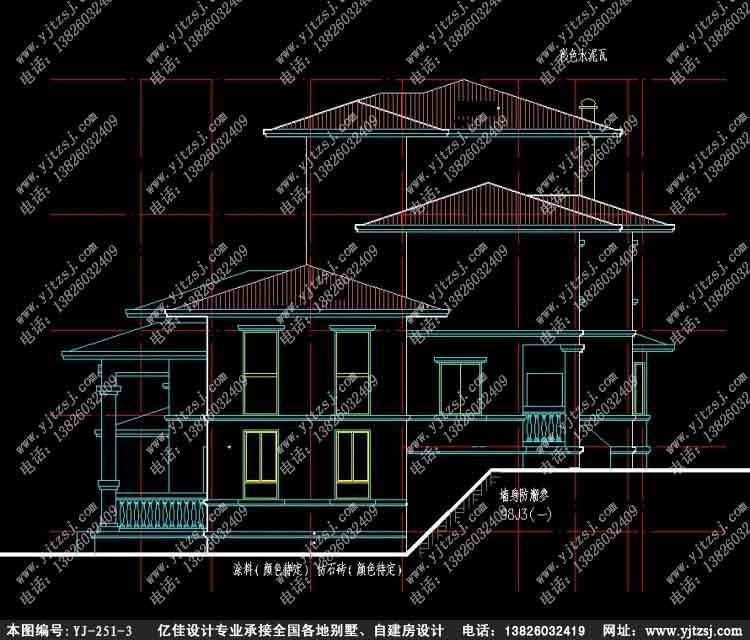 农村三层带车库精致洋房别墅设计图立面图