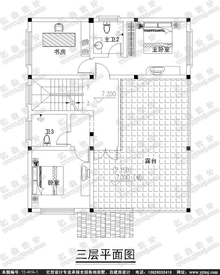 三层农村小别墅设计图-自建房设计图-农村小洋房设计图-农村自建别墅
