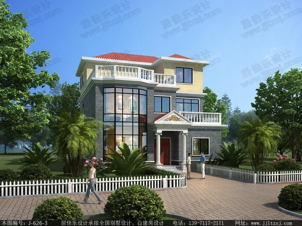 三层简欧带露台别墅设计 三层简欧房屋设计图,占地130平米,10.8 11.8米,30 43万造价